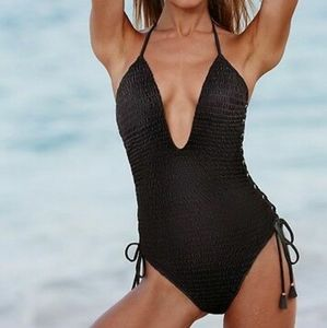 VS | Black Smocked Lace-Up One-Piece Swimsuit